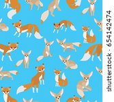 red fox and fennec fox on blue... | Shutterstock .eps vector #654142474