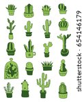 green hand drawn cactus and... | Shutterstock .eps vector #654146179