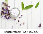 face cream with sage herbal... | Shutterstock . vector #654152527
