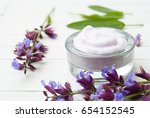 face cream with sage herbal... | Shutterstock . vector #654152545