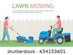 man mowing the lawn with blue... | Shutterstock .eps vector #654153601
