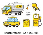 fuel truck  car  jerrycan  gas... | Shutterstock .eps vector #654158701
