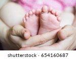 baby's feet in hands   Shutterstock . vector #654160687