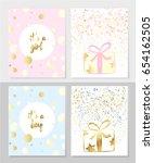 vector set of kids postcard... | Shutterstock .eps vector #654162505