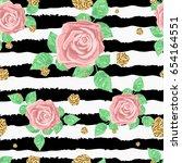 blossom roses seamless pattern... | Shutterstock .eps vector #654164551