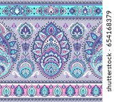 beautiful indian floral paisley ... | Shutterstock .eps vector #654168379