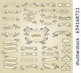 big set of ribbon banners set.... | Shutterstock .eps vector #654168721