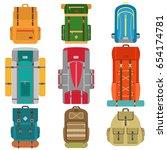 set of camping backpacks.... | Shutterstock .eps vector #654174781