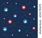 likes and loves symbols  social ... | Shutterstock .eps vector #654178195