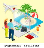 summer vacation. passenger... | Shutterstock . vector #654185455