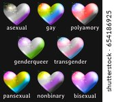 set of heart icons with queer... | Shutterstock . vector #654186925