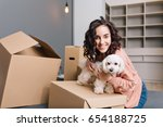 moving to new apartment of... | Shutterstock . vector #654188725