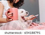 Sweet Little White Dog Yawning...