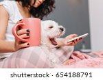 sweet little white dog yawning... | Shutterstock . vector #654188791