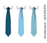 set different blue ties... | Shutterstock .eps vector #654195391