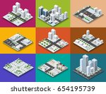 city module creator isometric... | Shutterstock .eps vector #654195739