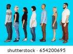 group of people standing line... | Shutterstock . vector #654200695