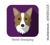 welsh sheepdog dog face flat... | Shutterstock .eps vector #654201115