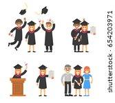 graduate happy young girl in... | Shutterstock .eps vector #654203971