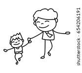 hand drawing cartoon concept... | Shutterstock .eps vector #654206191