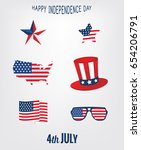 independence day 4th july icons ... | Shutterstock .eps vector #654206791
