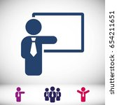 teacher and the board icon... | Shutterstock .eps vector #654211651