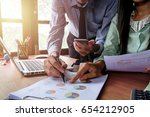 business team meeting present... | Shutterstock . vector #654212905