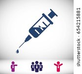 injection syringe flat icon... | Shutterstock .eps vector #654215881