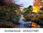 japanese garden pond night time | Shutterstock . vector #654227485