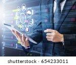 double exposure of professional ... | Shutterstock . vector #654233011