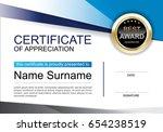 certificate of appreciation... | Shutterstock .eps vector #654238519