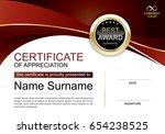 certificate of appreciation... | Shutterstock .eps vector #654238525