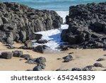 sea water flowing through dark...   Shutterstock . vector #654245839