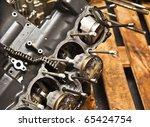 Four cylinder motorcycle engine - stock photo