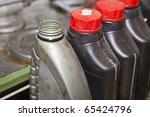 Used oil bottles - stock photo