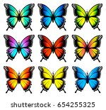 colorful butterflies set.... | Shutterstock .eps vector #654255325