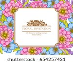 invitation with floral... | Shutterstock . vector #654257431