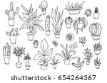 set of different plants  cactus.... | Shutterstock .eps vector #654264367