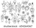 Set Of Different Plants  Cactu...