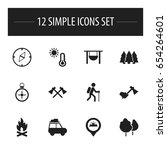 set of 12 editable trip icons....