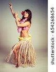beautiful young hula dancer... | Shutterstock . vector #654268654