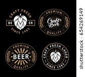 vector set of beer labels in... | Shutterstock .eps vector #654269149