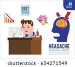 a sad man headache with... | Shutterstock .eps vector #654271549