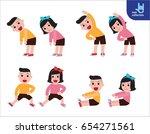 children stretching.... | Shutterstock .eps vector #654271561