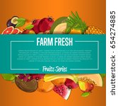 farm fresh fruit poster vector... | Shutterstock .eps vector #654274885