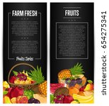 fresh organic fruit flyers set... | Shutterstock .eps vector #654275341