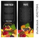 fresh organic fruit flyers set... | Shutterstock .eps vector #654275341