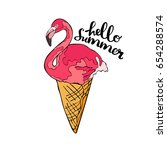 flamingo. ice cream cone. hello ... | Shutterstock .eps vector #654288574