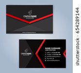 business card template. red and ... | Shutterstock .eps vector #654289144