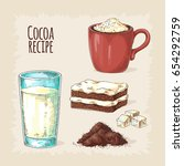 cocoa and ingredients for... | Shutterstock .eps vector #654292759